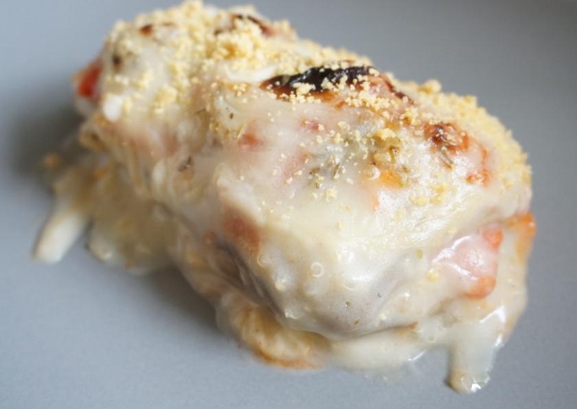 Lasaña de berenjena rellena de quinoa y pimiento